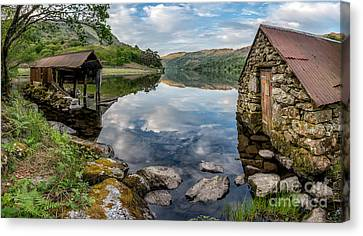 Gwynant Lake Boat House Canvas Print by Adrian Evans