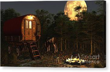 Gypsy Wagon In The Moonlight Canvas Print by Fairy Fantasies