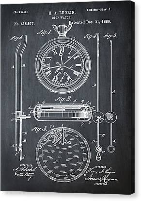 H A Lugrin Stop Watch Patent 1889 In Chalk Canvas Print by Bill Cannon