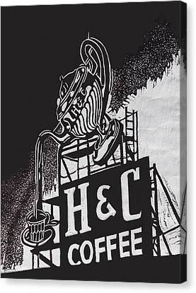 H And C Coffee Sign Canvas Print by Suzanne Gaff