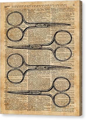 Hairdresser's Scissors Vintage Illustration Dictionary Art Canvas Print by Jacob Kuch