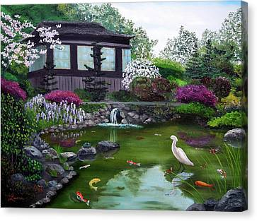 Hakone Gardens Pond In The Spring Canvas Print by Laura Iverson