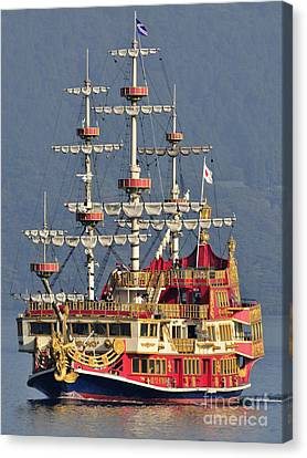 Hakone Sightseeing Cruise Ship Sailing On Lake Ashi Hakone Japan Canvas Print by Andy Smy
