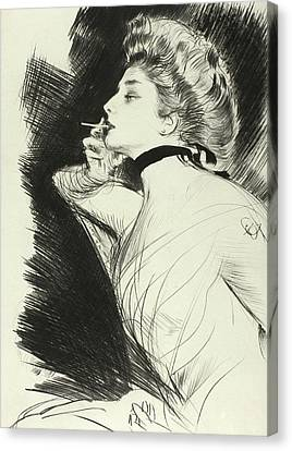 Half Length Portrait Of A Seated Woman, Smoking A Cigarette, Facing Left Canvas Print by Paul Helleu
