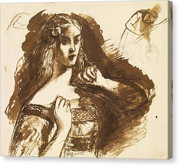 Half-length Sketch Of A Young Woman Canvas Print by Dante Gabriel Rossetti