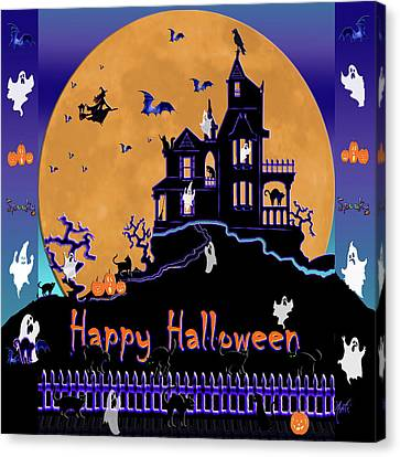 Halloween Haunted House Canvas Print by Michele Avanti