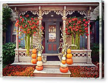 Halloween In A Small Town Canvas Print by Mary Machare