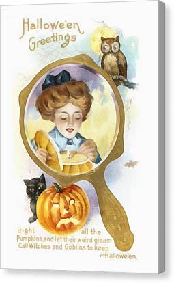 Halloween Owl Canvas Print by Unknown