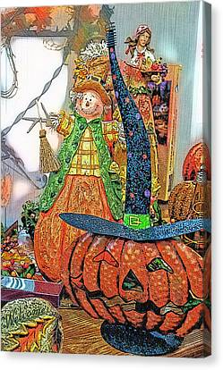 Halloween Scarecrow And Pumpkin Pa 02 Vertical Canvas Print by Thomas Woolworth