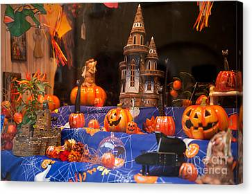 Halloween Scary And Funny Pumpkins Canvas Print by Arletta Cwalina