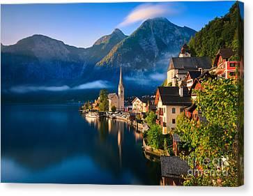 Hallstatt Is A Village In The Salzkammergut, A Region In Austria Canvas Print by Henk Meijer Photography