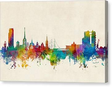 Halmstad Sweden Skyline Canvas Print by Michael Tompsett