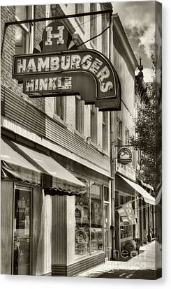 Hamburgers In Indiana Sepia Tone Canvas Print by Mel Steinhauer
