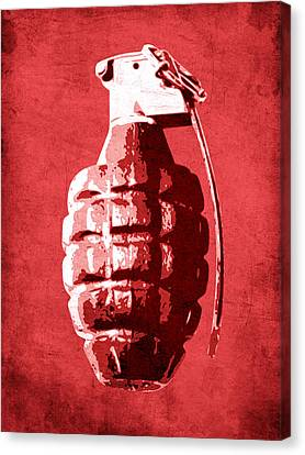 Hand Grenade On Red Canvas Print by Michael Tompsett