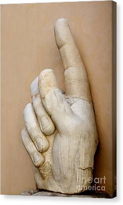 Hand With Pointing Index Finger. Statue Of Constantine. Palazzo Dei Conservatori. Capitoline Museums Canvas Print by Bernard Jaubert