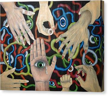 Hands And Eyes Canvas Print by Nancy Mueller