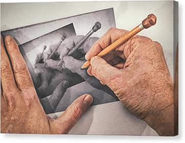 Hands Drawing Hands Canvas Print by Scott Norris