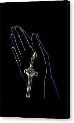 Hands In Prayer Canvas Print by Art Spectrum