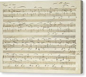 Handwritten Score For Waltz In Flat Major Canvas Print by Frederic Chopin
