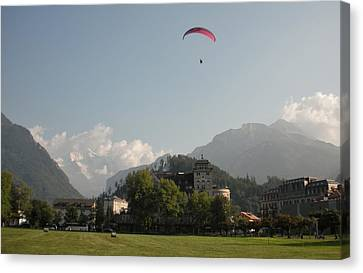 Hang Gliding In Interlaken Switzerland  Canvas Print by Marilyn Dunlap