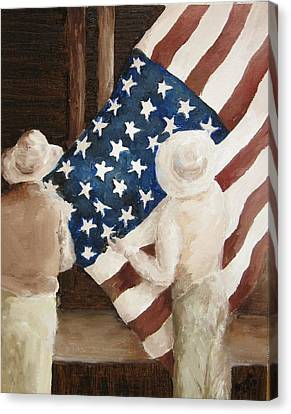 Hanging The Flag - 1 Canvas Print by Frieda Bruck
