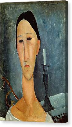 Hanka Zborowska With A Candlestick Canvas Print by Amedeo Modigliani