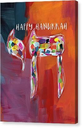 Hanukkah Chai- Art By Linda Woods Canvas Print by Linda Woods