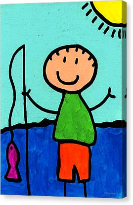 Happi Arte 2 - Boy Fish Art Canvas Print by Sharon Cummings