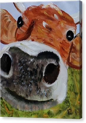 Happy Cow Canvas Print by Brian Hustead