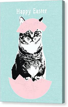 Happy Easter Cat- Art By Linda Woods Canvas Print by Linda Woods