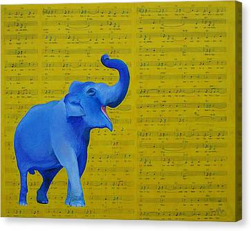 Happy Elephant Singing Emily Canvas Print by Emily Page