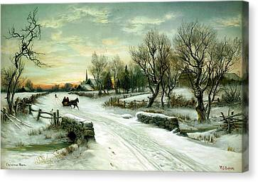 Canvas Print featuring the painting Happy Holidays by Travel Pics