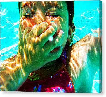 Happy Under Water Pool Girl Horizontal Canvas Print by Tony Rubino