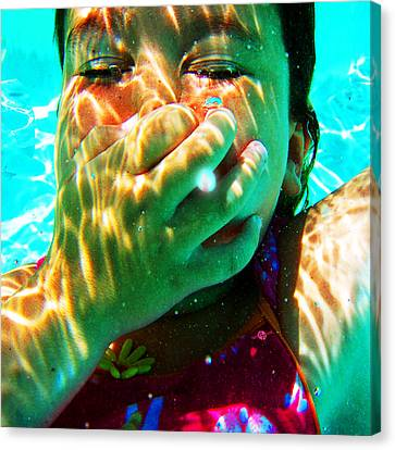 Happy Under Water Pool Girl Square Canvas Print by Tony Rubino