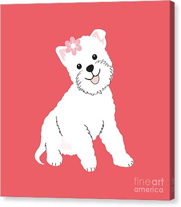 Happy Westie Canvas Print by Natalie Kinnear
