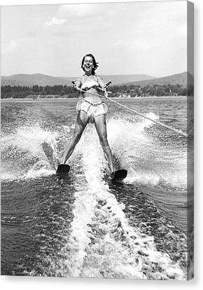 Happy Woman Water Skier Canvas Print by Underwood Archives