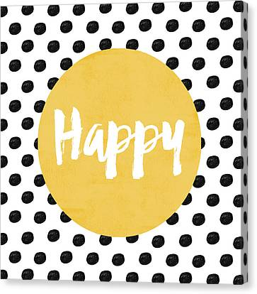 Happy Yellow And Dots Canvas Print by Allyson Johnson