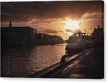 Harbour Sunset Copenhagen Canvas Print by Carol Japp