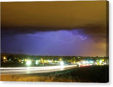 Hard Rain  Lightning Thunderstorm Over Loveland Colorado Canvas Print by James BO  Insogna