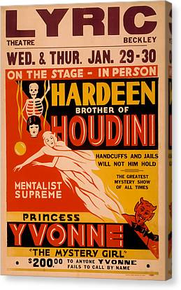 Hardeen Brother Of Houdini Canvas Print by David Wagner
