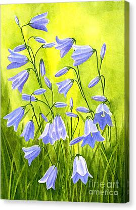 Harebells With Yellow And Green Background Canvas Print by Sharon Freeman