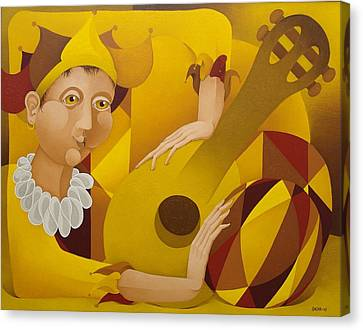 Harlequin With Lute  2003 Canvas Print by S A C H A -  Circulism Technique
