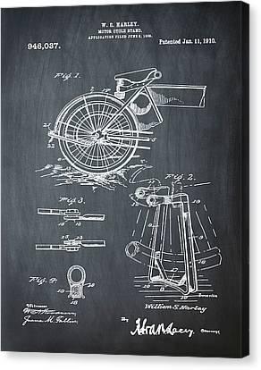 Harley Davidson Kickstand Patent 1910 In Chalk Canvas Print by Bill Cannon