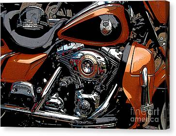 Harley Davidson Leather And Chrome Canvas Print by Diane E Berry