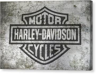 Harley Davidson Logo On Metal Canvas Print by Randy Steele