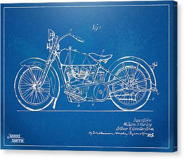 Harley-davidson Motorcycle 1928 Patent Artwork Canvas Print by Nikki Marie Smith