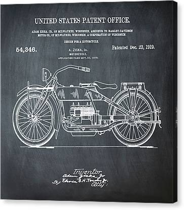 Harley Davidson Motorcycle Patent 1919 In Chalk Canvas Print by Bill Cannon