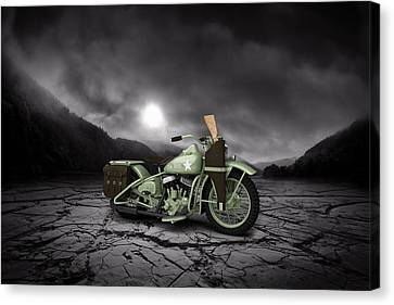 Harley Davidson Wla 1942 Mountains Canvas Print by Aged Pixel