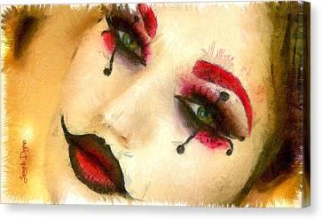 Harley Quinn Face - Da Canvas Print by Leonardo Digenio