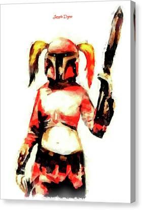 Harley Quinn Trooper - Aquarell Style Canvas Print by Leonardo Digenio